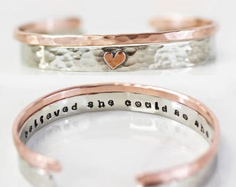 Graduation Gift / Inspirational / Empowering Jewelry / Gift for Her / She Believed She Could So She Did / Personalized Cuff Set With Heart