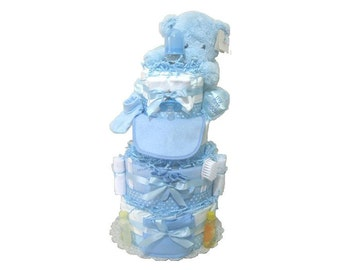 Boy Diaper Cake. Diaper Cake Boy. Baby boy gift set, Shower Diaper Cakes. Plush Blue Bear. Diaper Cakes for Babies.