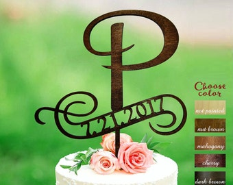 p cake topper, Initials cake topper, wedding cake toppers, wooden cake topper, cake topper letter p, cake topper with date, CT#144