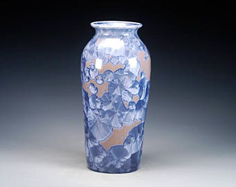 Ceramic Vase - Blue, Grey - Crystalline Glaze on High-Fired Porcelain - Hand Made Pottery - FREE SHIPPING - #E-1-5472