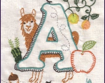 Instant Download A of ABCs of AGRICULTURE crewel embroidery PATTERN