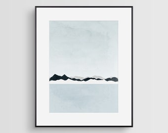 Minimalist Art, Scandinavian Print, Mountain Print, Large Wall Art, Abstract Modern Art, Limited Edition Print, Winter Landscape, Iceland