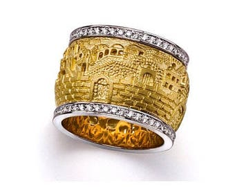 18K Gold Jerusalem Spinning Ring with Diamond borders. israeli jewelry