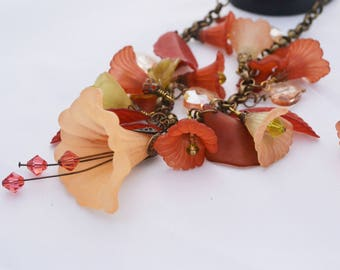 Peach and Rust Fairy Flower Lucite & Swarovski Flower Necklace and Earrings OOAK Statement Necklace Womens Birthday Gift Anniversary Gift