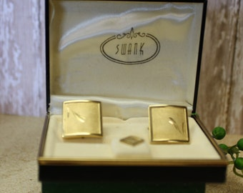 Vintage Gold Square Cufflings with Matching Tie Tac, 1970