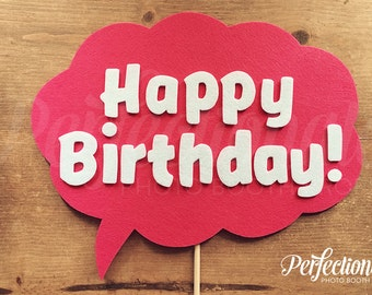 Happy Birthday Photo Booth Prop | Pink Birthday Photo Prop