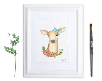 Watercolor Fawn Print | Fawn Nursery Decor | Floral Deer | Woodland Nursery Decor | Watercolor Animal Print | Whimsical Prints | Baby Girl