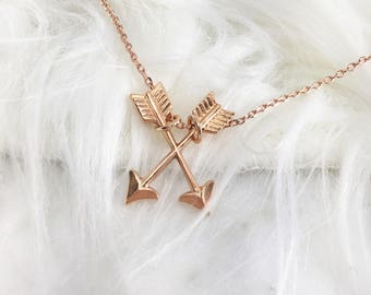Delicate Layering Double Arrow Boho Adjustable Necklace Rose Gold Gold or Silver Valentines Day Gift Present Idea Girlfriend Gift