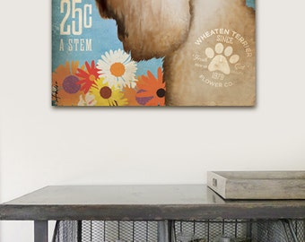 Wheaten Terrier Flower Company illustration graphic art on gallery wrapped canvas by stephen fowler