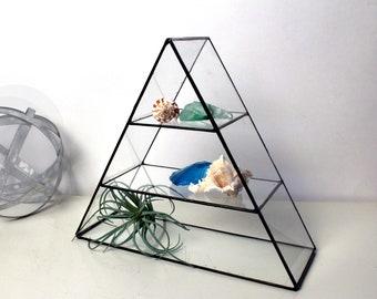 Geometric Clear Glass Shelf - Home Accents - Home Decor -