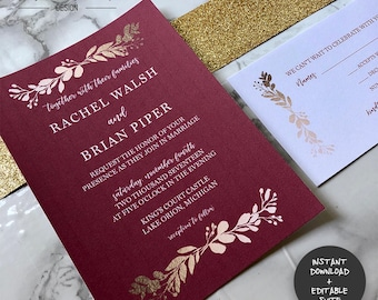 Maroon & Gold Wedding Invitation Suite   INSTANT DOWNLOAD   Editable PDF  Do It Yourself   Printable