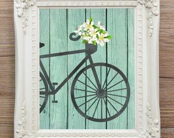 Bicycle print, flowers, watercolor, ink, SALE, 25% off, white, turquoise, vintage, Paris, 8 x 10, printable, instant download, bike, basket