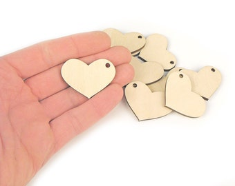 10pcs. (4x3cm) Wooden Heart Tag Shapes Gift Craft Hanging Tag Decoration With Hole MG000258