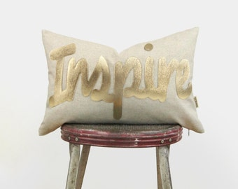 Metallic Gold and Natural Beige Word Pillow | Inspire Decorative Pillow Case | 12x18 inches / 30x45 cm Monogrammed Lumbar Cushion Cover