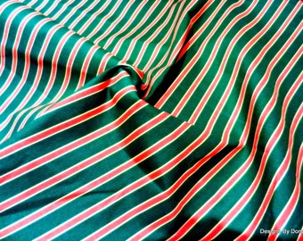 Clearance Sale, One Half Yard Cut Quilt Fabric, Christmas, Red, Green & Thin Tan Stripes, Marcus Brothers, Sewing-Quilting-Craft Supplies
