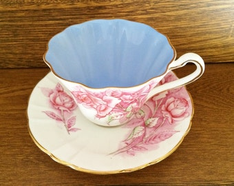ROYAL STAFFORD ROSES Teacup - Pink Cabbage Roses - Blue Interior Cup - Scalloped Ribbed & Flared