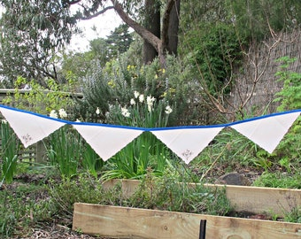 Blue And Cream Bunting Banner - Bridal Vintage Shabby Chic Party Suppplies Rustic Wall Hanging - Flower Leaf Rustic Something Decor Garland