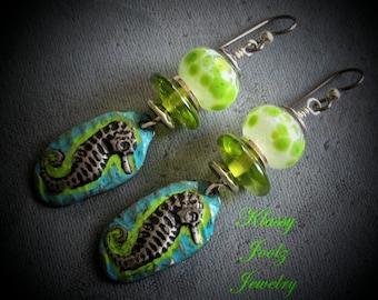 Pewter and Glass Lampwork Beaded Earrings-Seahorse Pewter Charms-Beach Earrings-Artisan Earrings-Tribal-Primitive-Rustic Earrings-SRAJD