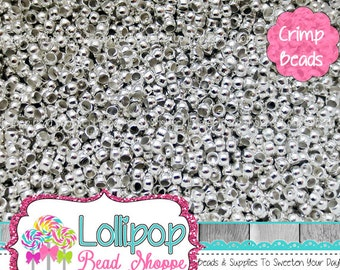 2mm Silver Crimp Beads - 2mm Crimp Beads - Crimp Tube Beads - Crimp Barrel Beads - Silver Tone Crimp Bead - Silver Plated - Nickel FREE