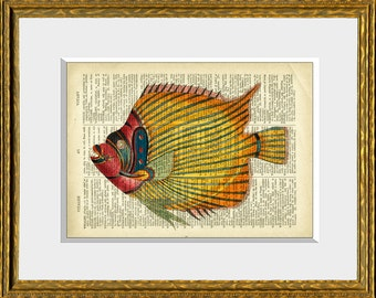 COLORFUL TROPICAL FISH recycled book page art print - upcycled antique dictionary page with a retooled antique ocean illustration - wall art