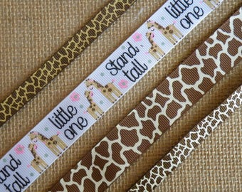 3/8 and 7/8 Giraffe print, Giraffe ribbon, Ribbon by the Yard