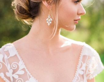 Gold Earrings Gold Bridal Earrings Crystal Earrings Beaded Earrings Bridal Earrings Boho Earrings Bohemian Earrings #138