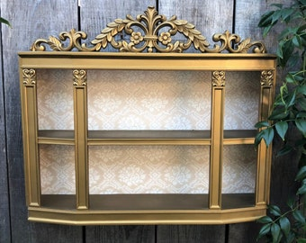Vintage Syroco Wall Shelf..Ornate Gold Shadowbox..Hollywood Regency..Wall Curio