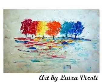 Abstract Wall Art 60x36 TREES SEASONS Colors Impasto Oil Painting on Large Canvas Original Art
