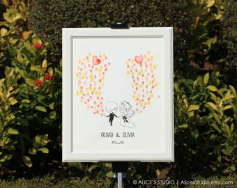 Personalised Hand Drawn Wedding Guest Book - Custom Wedding Couple - Original Art - Fingerprints & Signatures - Free Gift with Purchase