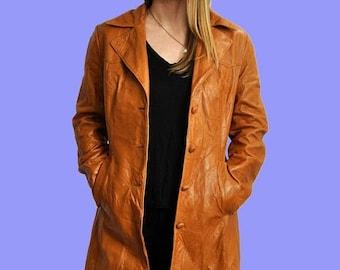 25% OFF 70s Leather Coat S-M