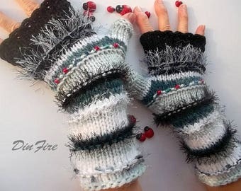Women Size M Ready To Ship Wool Bohemian Fingerless Boho Mittens Cabled Striped OOAK Warm Hand Knitted Gloves Wrist Warmers Winter Arm 1145