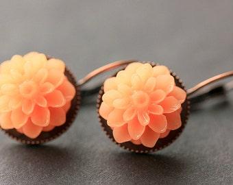 Peach Dahlia Flower Earrings. French Hook Earrings. Peach Flower Earrings. Lever Back Earrings. Handmade Jewelry.