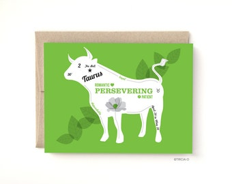 Taurus Zodiac Birthday Card The Bull, Birthday greeting card April May Birthday