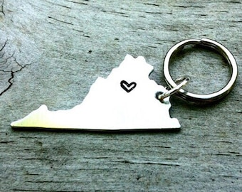 CUSTOM State Keychain - State or USA - Long Distance Relationship