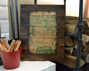 Historic Map of United States Map Wood Wall Art - Map of USA and North America