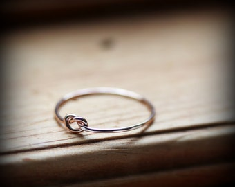 Rose gold knot ring - thin 14K rose gold filled promise ring - bridesmaid gift