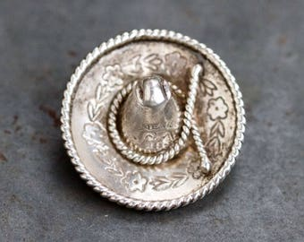 Sombrero Lapel Pin - Sterling Silver Brooch - Miniature Hat - Souvenir from Mexico