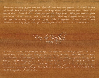 I Will Be Here by Steven Curtis Chapman/ Wedding Song Lyrics Gift/ Gift from Groom to Bride/Gift from Bride to Groom/ First Dance - 8x10 +