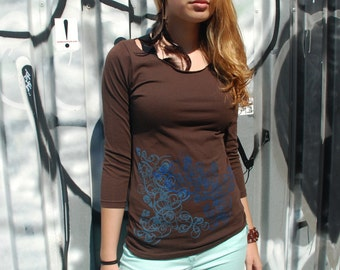 Graphic tee for women (Sm, XL) womans tops tshirts, womens t-shirt, womens tees, tops & tees, brown 3/4 sleeve tshirt, double deco