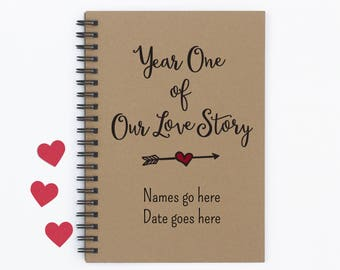 """Personalized, Year One of Our Love Story, 5""""x7"""" Journal, writing journal, notebook, diary, memory book, scrapbook, gift for boyfriend, gift"""