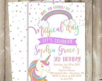 Unicorn Birthday Invitation - Magical Day - Over the Rainbow - DIGITAL FILE