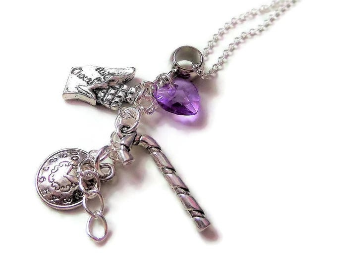 """CHARLIE & the CHOCOLATE FACTORY inspired 20"""" silver plated charm necklace Willy Wonka fan gift jewellery Uk"""
