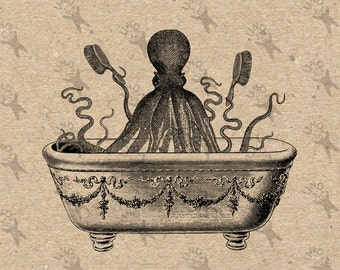Vintage image collage Tentacles Octopus Bathroom Bath Instant Download clipart digital printable graphic transfers iron on prints HQ 300dpi