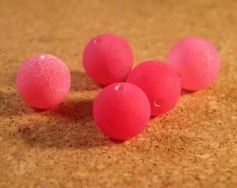 Pink frosted cracked agate 5 beads 10 mm AG32