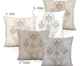 Pillow Cover - Pillow - Exposition Nantes Linen Cotton French Farmhouse Pillow - 16x 18x 20x 22x 24x 26x 28x 30x 32x Inch Cushion Cover