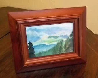 Mountain Lake Framed Original Watercolor Painting 5 x 3.5