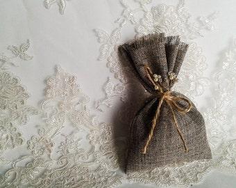 Burlap Favor Bag, Rustic Gift bag, Candy Bag, Rustic Wedding Favor, Thank You Bag, Candy Buffet Bags, Muslin Bags, Burlap Wedding Bag