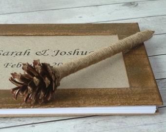 Pine Cone Pen Rustic Wedding Pen Woodland Wedding Reception Decor Country Wedding Gift