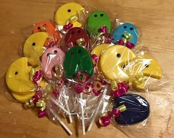 Pac Man chocolate lollipops