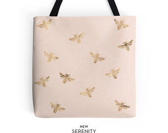 BusyBee Tote Bag, Pink Tote Bag, Bee Tote Bag,Chic Tote,Printed Tote Bag, Work Tote Bag, Womens Tote Bag, Gift for Her, NewSerenityStudio